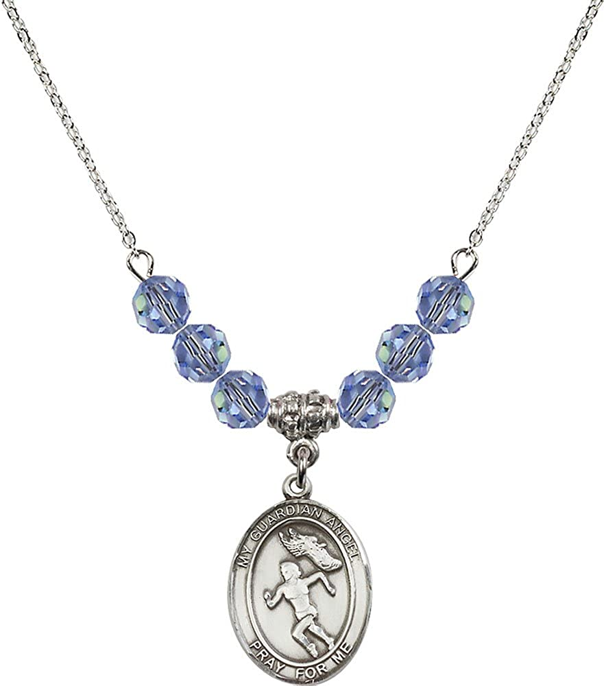 18-Inch Rhodium Plated Necklace with 6mm Light Sapphire Birthstone Beads and Sterling Silver Guardian Angel//Track/&Field-Women Charm.