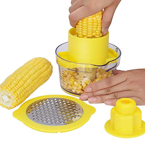 LMEIL Cob Corn Stripper Kitchen Tools with Built-in Measuring Cup and Grater, 4 in 1 Corn Peeler with Built-in Measuring Cup, BBQ at The Park, Camping Site