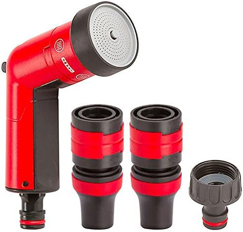 FITT YOYO BAG Extendable and Flexible Garden Water Hose Pipe with Practical Case with a Handle and Zip for After the Use, Multi-Function Spray Gun, Red, 30 m