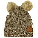 Trendy Apparel Shop Double Pom Pom Fleece Lined Knitted Winter Cuff Beanie - Khaki
