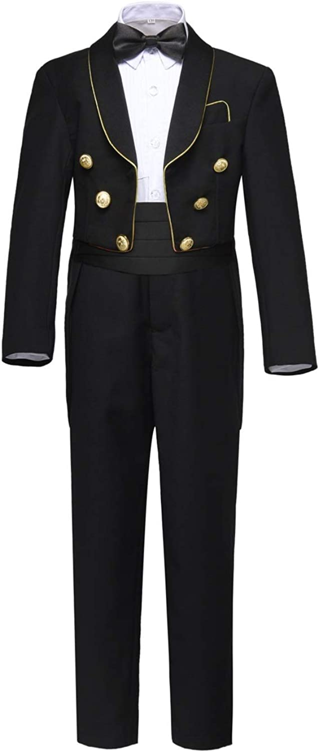 NaineLa Boys Classic Tuxedo Suits with Tail 5 Pieces Formal Dress Wedding Outfit