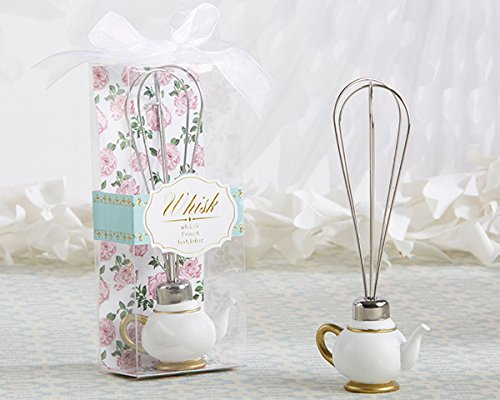 (Kate Aspen Tea Time Whimsy Teapot Whisk - Set of 12 - Unique Bridal Shower Favors, Baby Shower Guest Gift Or Wedding Favor )