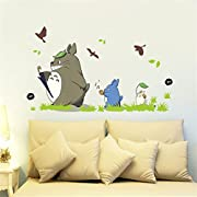 Jiquan My Neighbor Totoro Wall Decals Stickers, Removable Waterproof DIY Wall Art Mural Stickers for Kids Bedroom (Totoro-6)