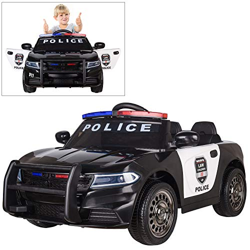 (Modern-Depo Police Pursuit 12V Electric Ride On Car for Kids with 2.4G Remote Control, Siren Flashing Light, Intercom, Bumper Guard, Openable Doors)