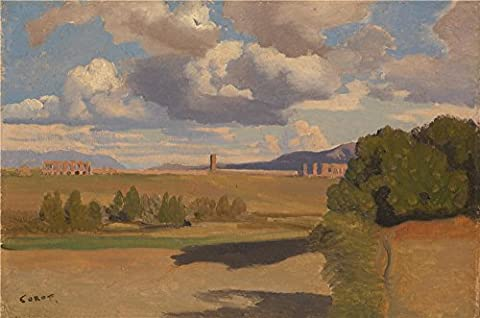 'Jean Baptiste Camille Corot The Roman Campagna With The Claudian Aqueduct ' Oil Painting, 20 X 30 Inch / 51 X 77 Cm ,printed On Polyster Canvas ,this Vivid Art Decorative Canvas Prints Is Perfectly Suitalbe For Foyer Decor And Home Gallery Art And Gifts
