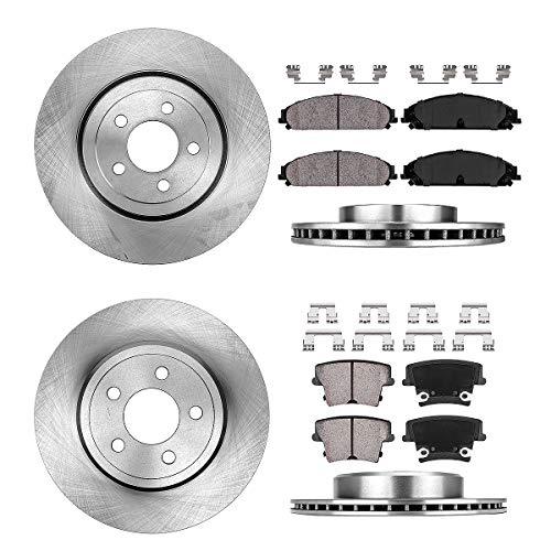 2007 Magnum Rt - CRK14128 FRONT 344.93 mm + REAR 320.04 mm Premium OE 5 Lug [4] Rotors + [8] Quiet Low Dust Ceramic Brake Pads + Clips