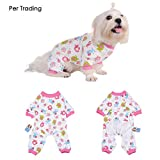 Per Dog Cat Pajamas with Lovely Monkey Pattern and Four Feet Design, Pet All Season PJS Jumpsuit for Small and Medium Sized Dog Puppy Cat Kitten - Pink, XS/S/M/L/XL