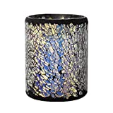 OKSLO Multicolour Mosaic Glass Lamp With Flame Less LED Candle With Timer - 4x6 Inches