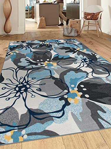 Modern Large Floral Non-Slip Non-Skid Area Rug 5 X 7 5' 3″ X 7' 3″ Gray-Blue