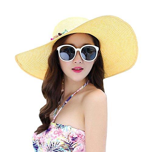 Adrinfly Floppy Sun Hat Foldable Wide Brim Adjustable Beach Straw Accessories Cap UPF 50+,Yellow