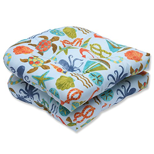 Pillow Perfect Outdoor Seapoint Summer Wicker Seat Cushion, Blue, Set of 2