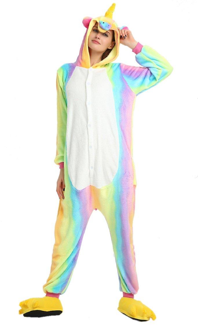 df64983006d7f Heekpek Adulte Unisexe Anime Animal Licorne Costume Cosplay Combinaison  Pyjama Outfit Nuit Vêtements Onesie Fleece Halloween Costume Soirée de  Déguisement ...