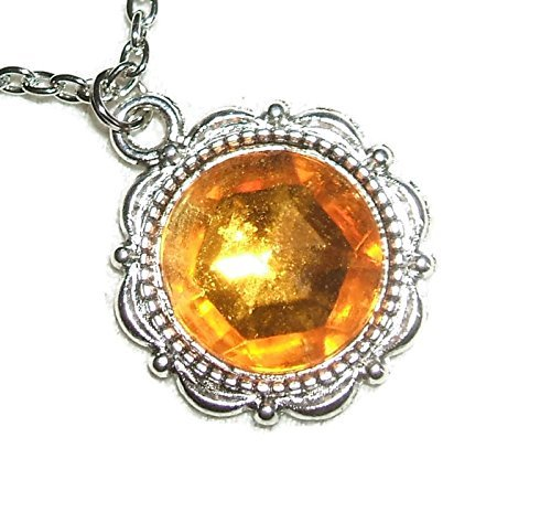 GOLDEN TOPAZ Czech Glass NECKLACE Silver Pltd Pendant High Quality Rich Color Faceted Stone