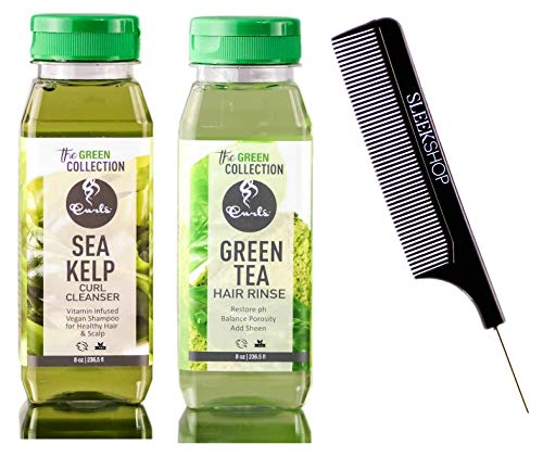 CURLS The GREEN Collection Sea Kelp Curl Cleanser VEGAN SHAMPOO & Green Tea HAIR RINSE CONDITIONER (w/SLEEK COMB) (8 oz / 250 ml - DUO) ()