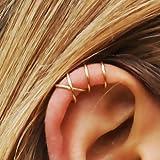 Set of 2 Ear Cuffs, Ear Cuff, Double Ear Cuff and Criss Cross Ear Cuff, No Piercing, Cartilage Ear Cuff, Simple Ear Cuff, Fake Cartilage Earring, 20 Gauge Gold Filled