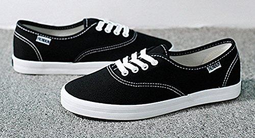 Aisun Dames Comfort Ronde Neus Rijgen Sneakers Plat Canvas Sneakers Skateboarden Zwart