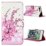 Kit Me Out CAN® Apple iPhone 7 Plus [PU Leather] Protective Book Folio Flip Case Cover - White / Pink Blossom