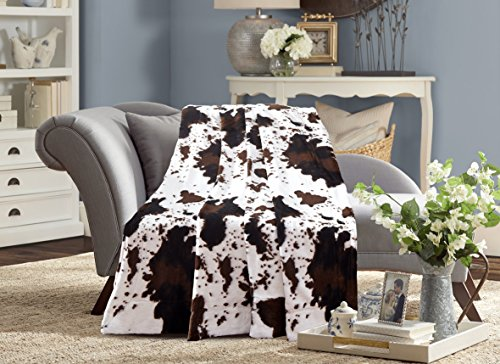 De Moocci Animal Cow Skin Reversible Faux Fur Blanket Back with Micromink, Super Soft Warm Plush, TWIN 63''x87'' Cow Blanket