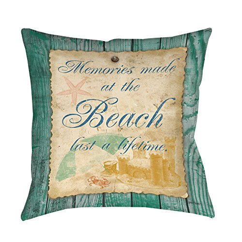 Single Piece Green Golden Quote Throw Pillow, Memories Made At The Beach Last A Lifetime, 16 Inch, Square Shape, Casual Style, Graphic Print, Spot Clean, Reversible Bedding Feature, Polyester