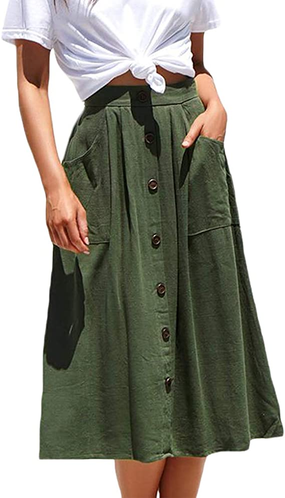 Vintage Skirts | Retro, Pencil, Swing, Boho Naggoo Womens Casual Front Button A-Line Skirts High Waisted Midi Skirt with Pockets $23.98 AT vintagedancer.com