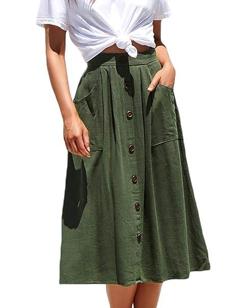 78ad81ff0 Naggoo Womens Button Down Midi Skirt High Waisted Aline Skirt(S,Army Green)