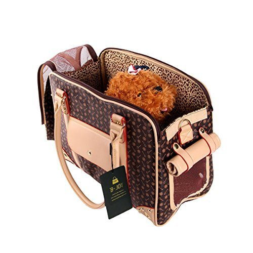 BETOP Pet Carrier Tote Around Town Pet Carrier Portable Dog Handbag Dog Purse for Outdoor Travel Walking Hiking (L(40cm*30cm*20cm), Brown) by BETOP (Image #1)