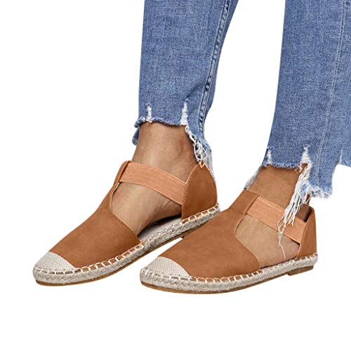 TIANMI Shoes for Women,Fashion Summer Retro Low Flat Sandals Round Toe Shoes(Brown,42)