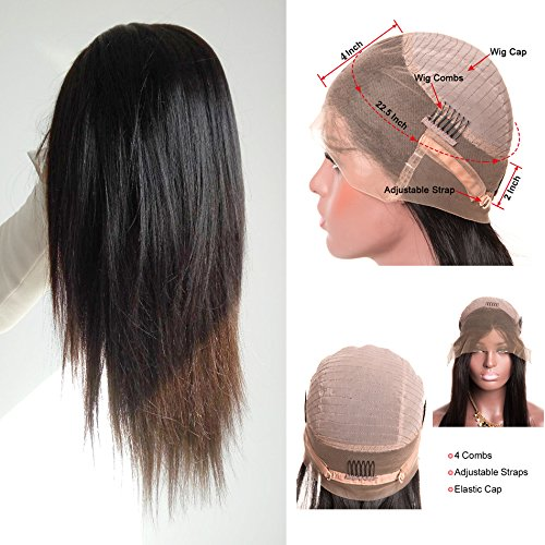 Cy May 360 Lace Frontal Wigs 150% Denisty Lace Front Human Hair Wigs for Black Women Natural Color Straight Brazilian Virgin Hair Natural Hairline Pre Plucked 360 Full Lace Wig with Baby Hair (20inch) from Cy May Hair
