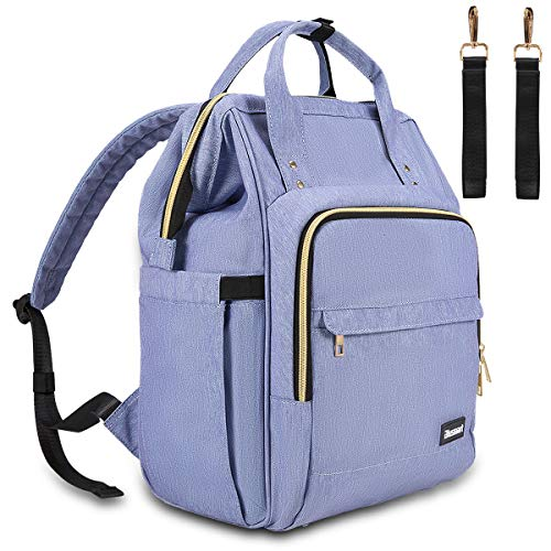 Diaper Bag, Multi-Functional Blusmart Baby Changing Bag, Stylish & Durable Waterproof Nappy Backpack with Wide Opening, Large Capacity, and Stroller Straps for Mom & Dad, Picnic, and Travel-Purple