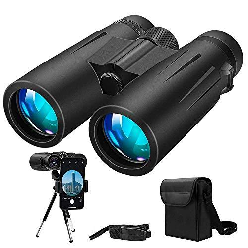 Binoculars, 12x42 Binoculars for Adults, Binoculars for Hunting, Compact Binoculars with Tripod, Smartphone Adapter for Hunting, Bird Watching, Hiking, Traveling and Sports
