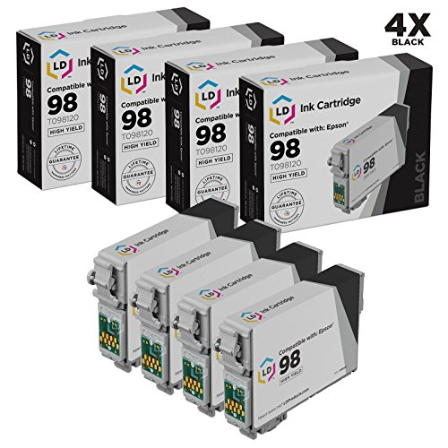 LD Remanufactured Ink Cartridge Replacements for Epson 98 T098120 High Yield (Black, 4-Pack) (Ink Artisan 837 Printer Epson)