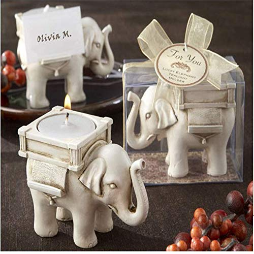 - Hoocozi 2pcs Lucky Elephant Tea Light Holder Tea Light Candle Stand Decor with Antique Ivory Finish