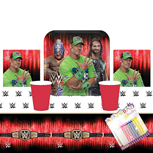 John Cena Party (WWE Smash Wrestling Party Suppiles Pack Serves 16: Dinner Plates Luncheon Napkins Cups ans Table Cover with Birthday Candles (Bundle for)