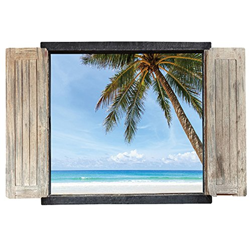 Winhappyhome Coco Tree Beach Summer Scene 3D Fake Window Wall Stickers for Bedroom Living Room Coffee Shop Nursery TV Background Removable Art Decor Decals