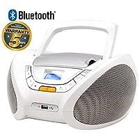 Lauson Lecteur CD | Radio Portable | Bluetooth | USB | Radio Stéréo CD Lecteur MP3 Pour Enfant | Chaîne stéréo | Prise casque | Aux In -Écran LCD- Batterie et Alimentation électrique | CP450 (Blanc)