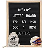 Letter Board 12 x 16 inches - Vagski Black Felt Letter Board with 470 Letters Numbers & Symbols (300 1'' + 170 ¾''), Changeable Message Board Sign with Oak Wood Frame, Letter Pouch & Scissors VAG047