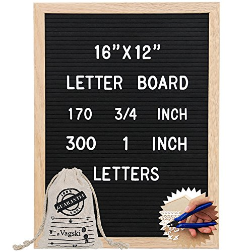 Letter Board 12 x 16 inches - Vagski Black Felt Letter Board with 470 Letters Numbers & Symbols (300 1'' + 170 ¾''), Changeable Message Board Sign with Oak Wood Frame, Letter Pouch & Scissors VAG047 by Vagski