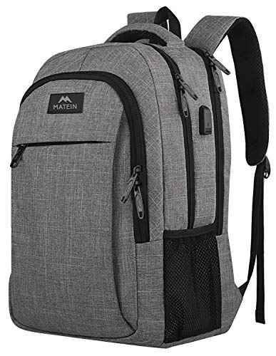 Travel Laptop Backpack,Business Anti Theft Slim Durable Laptops Backpack with USB Charging Port,Water Resistant College School Computer Bag for Women & Men Fits 15.6 Inch Laptop and Notebook - Grey ()
