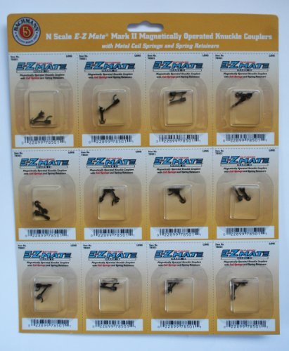 Bachmann Trains E - Z Mate Mark II Magnetic Knuckle Couplers with Metal Coil Spring - Long (12 Coupler pairs per card) - N Scale