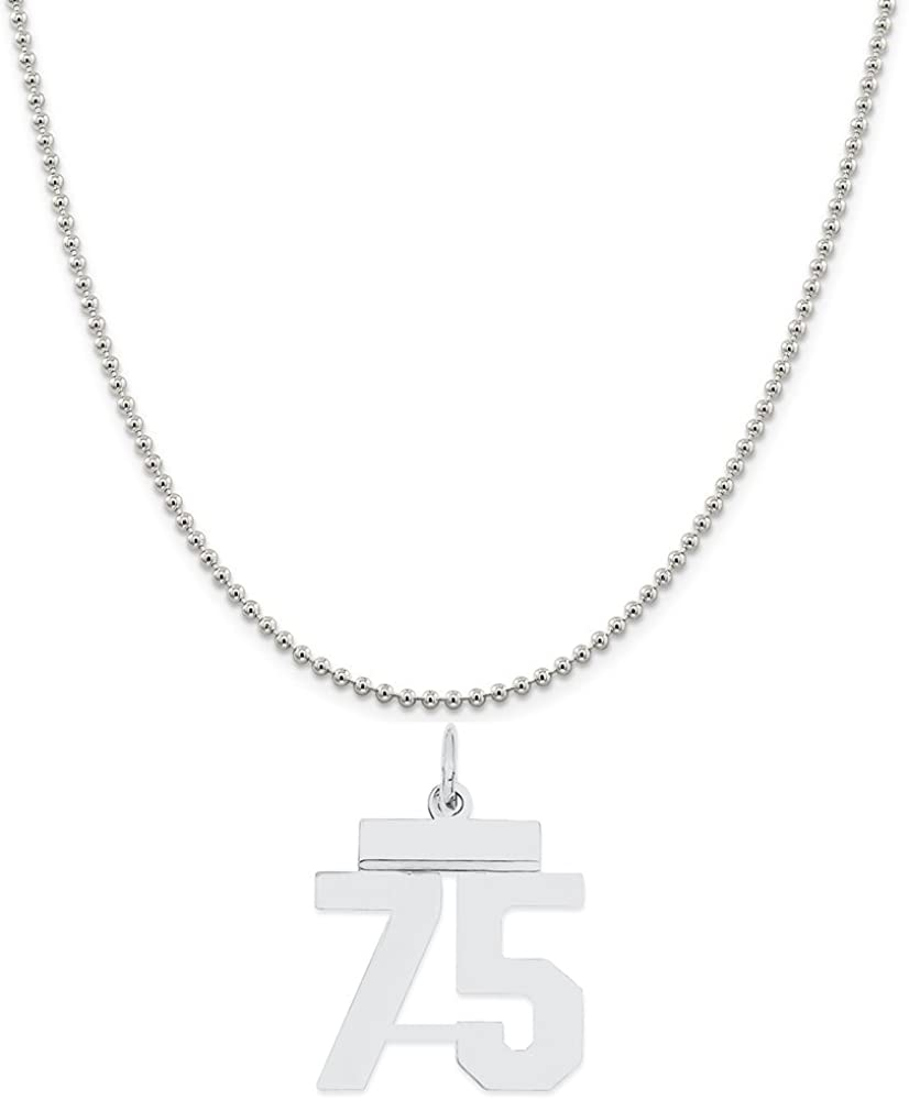 Snake or Ball Chain Necklace Sterling Silver Small Polished Number 75 on a Sterling Silver Cable