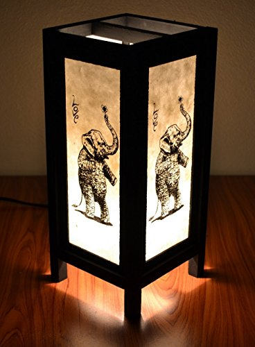 Jakapan's Shop Decorative Lamp Thai Vintage Handmade Asian Oriental Elepnaht In Love Bedside Table Light Floor Wood Paper Lamp Shades Home Bedroom Garden Decoration Modern Design by Jakapan's Shop