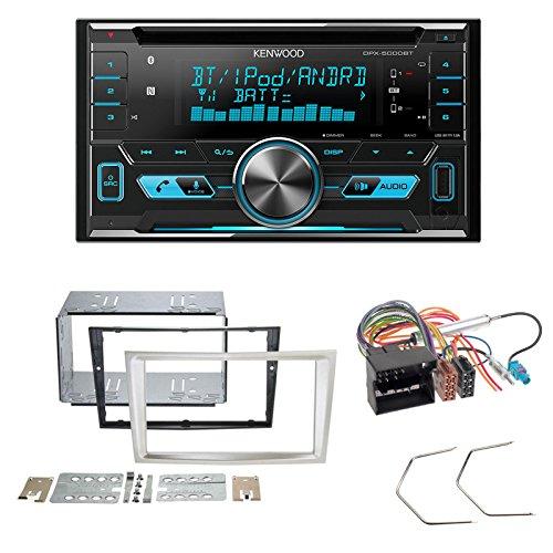 Radioeinbauset : Autoradio Kenwood DPX5000BT BT FSE USB CD + 2-DIN Radioblende Satin Stone + Entriegelungsbügel • Radioanschlusskabel DIN-Antennenadapter für Opel Astra H/Corsa D/Zafira B/Antara Schlauer-Shop24 DPX5000BT+OP-49