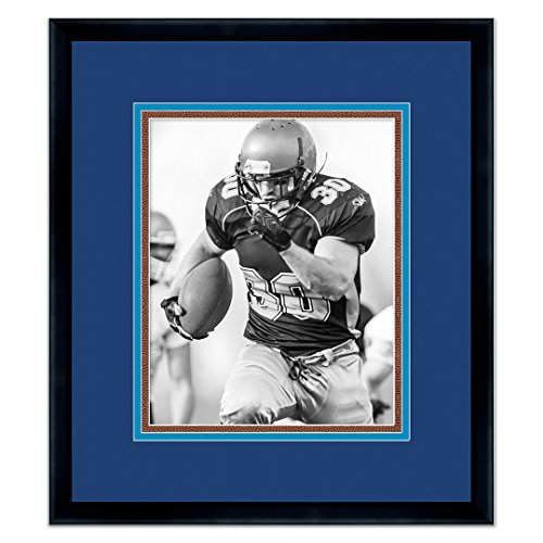 - San Diego Chargers Black Wood Frame for a 5x7 Photo with a Triple Mat - Navy Blue , Powder Blue, Football Textured Mats