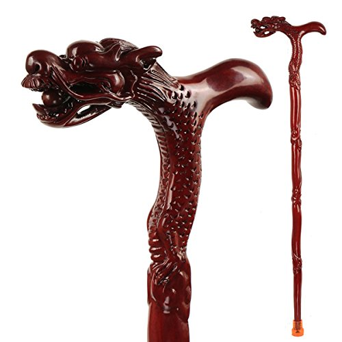 - ALXDR Hardwood Walking Sticks With Derby Handle Exquisite Dragon Style Non-Slip Walker Assisting Unisex Rosewood Cane Affordable Noble Gift,XS