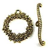 10Sets Antique Bronze ROUND FLOWER Toggle Clasps Connectors Hooks C388 DIY Crafting Key Chain Bracelet Necklace Îewelry Accessories Pendants