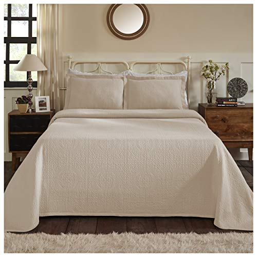 Blue Nile Mills 100% Cotton Fleur De Lis Matelasse Queen Bedspread, Linen from Blue Nile Mills