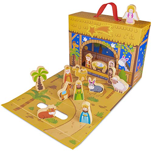 My First Noel Nativity Story Box | Portable, Foldable Birth of Christ Playset | Comes with 15 Figures to Create Your Very Own Display for Christmas | Great for Kids and Religious Education