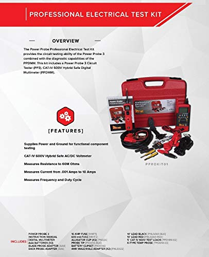 Power Probe Professional Electrical Test Kit - Red (PPROKIT01) Inc III w/PPDMM & Accessories [Measures Resistance, Current & Frequency] by Power Probe (Image #1)