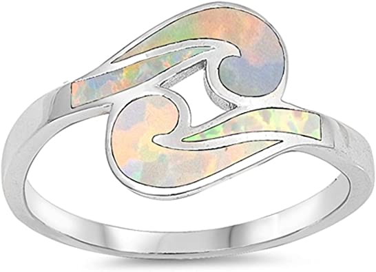CloseoutWarehouse Simulated Opal Infinity Desin Ring Sterling Silver