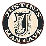 JUSTIN'S MAN CAVE Initial Letter Chic Sign Rustic Shabby Vintage style Retro Kitchen Bar Pub Coffee Shop man cave Decor Gift Ideas Review